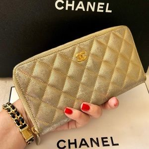 CHANEL Gold Quilted Leather CC Zippy Long Wallet